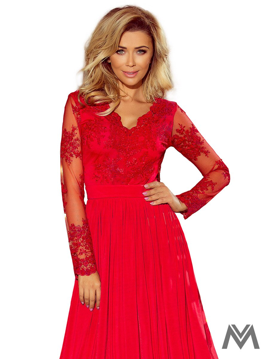 55f1590dca1b Dlhé dámske šaty s čipkou 213-3 červené