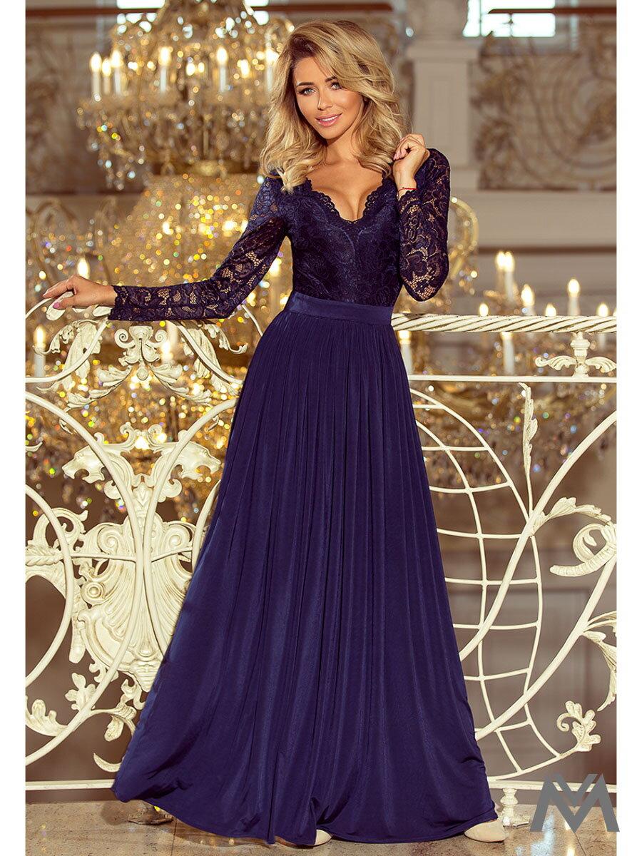 05f1165f7f71 Dlhé dámske šaty s čipkou 214-1 tmavomodré