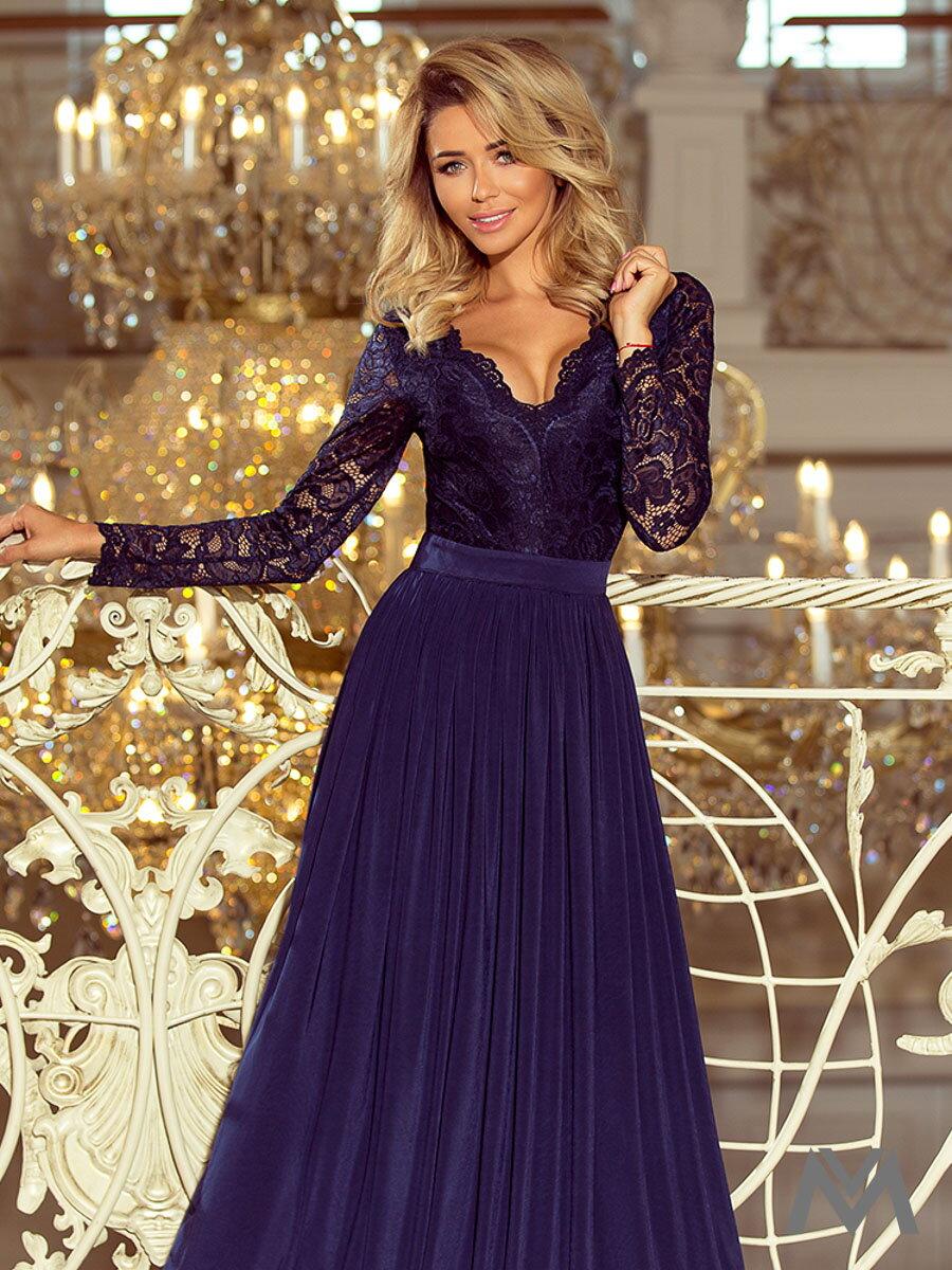 Dlhé dámske šaty s čipkou 214-1 tmavomodré ... 0a08ee4423e