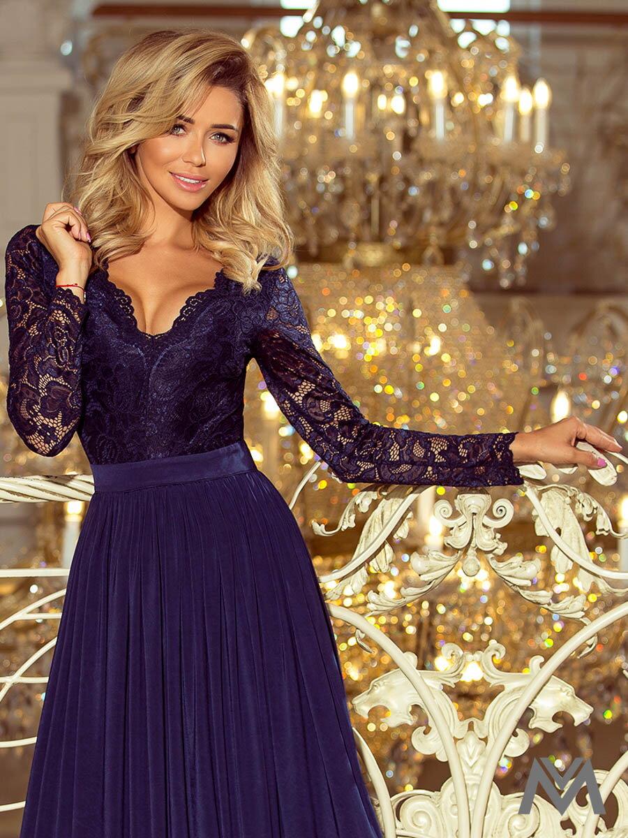 645527736 Dlhé dámske šaty s čipkou 214-1 tmavomodré | ModneVeci.sk