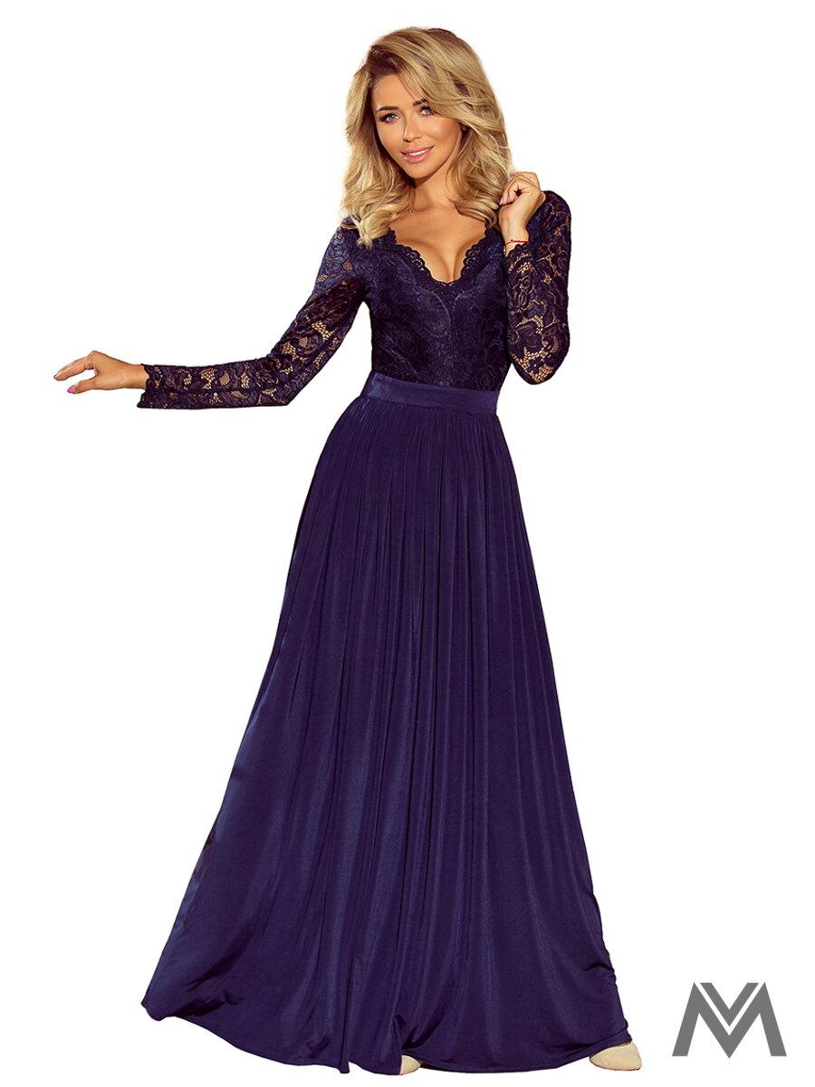 Dlhé dámske šaty s čipkou 214-1 tmavomodré ... c561b3fda0a