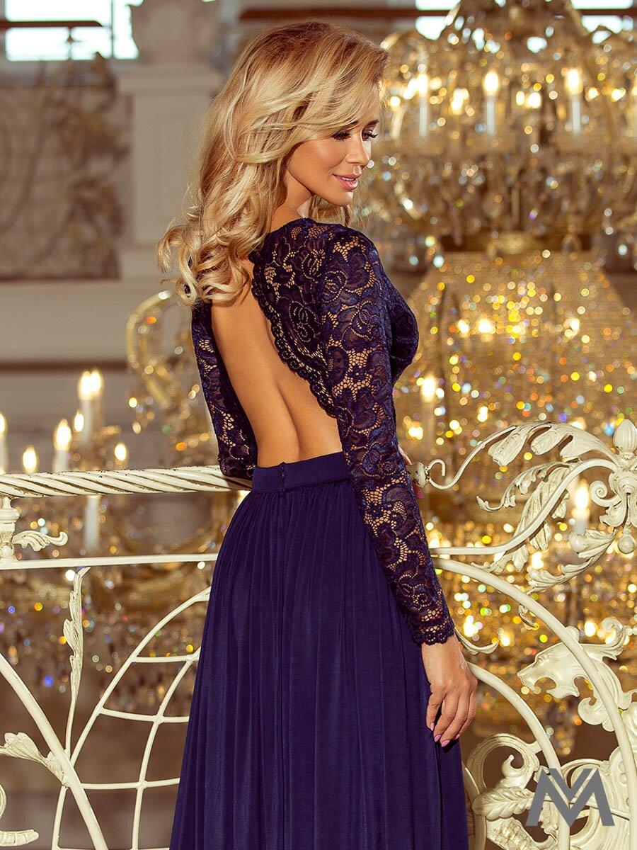 a74bf4b715ec Dlhé dámske šaty s čipkou 214-1 tmavomodré