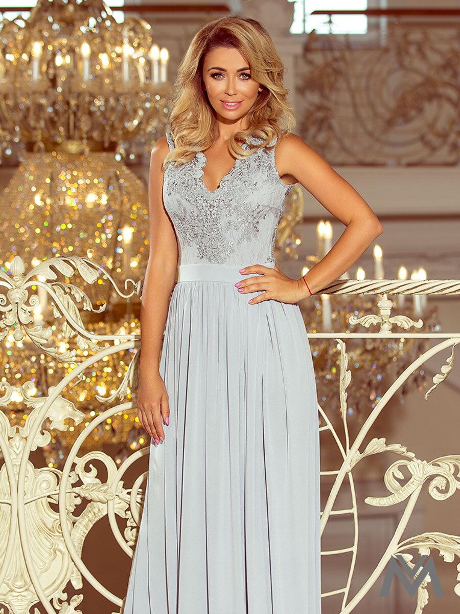 c34b01eea246 Dlhé dámske šaty bez rukávov 215-1 šedé ...