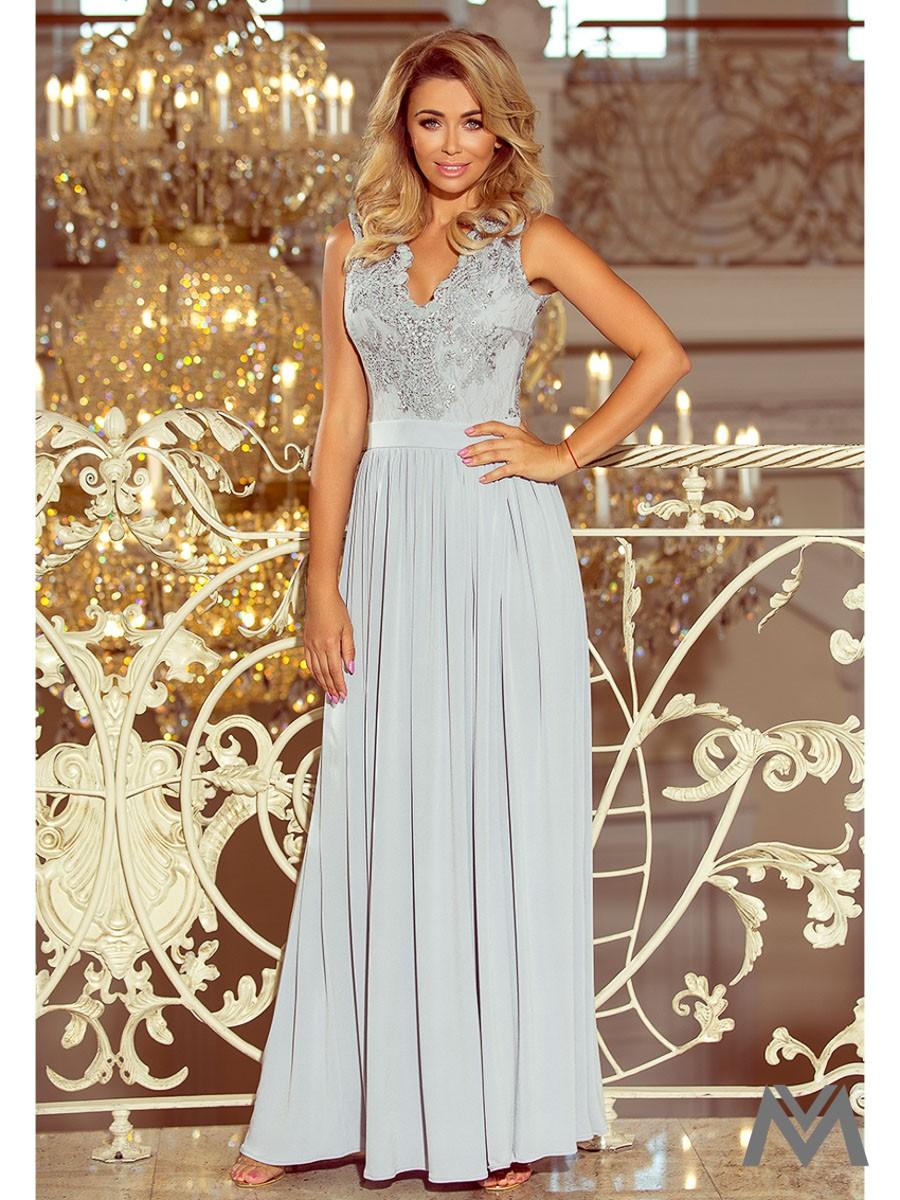 Dlhé dámske šaty bez rukávov 215-1 šedé  a71961fb0ce