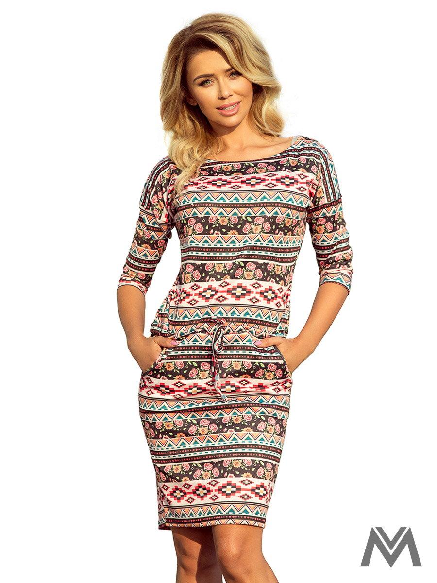 6e6863877c Dámske šaty 13-94 s farebným vzorom ...