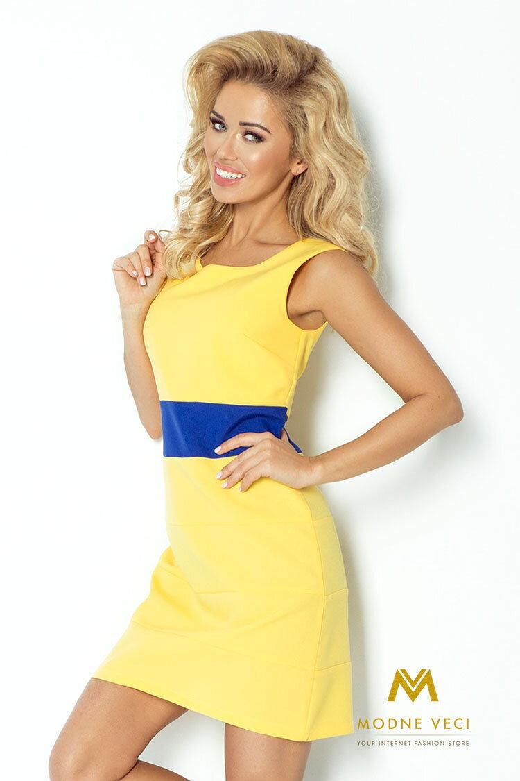 647e6af105ab Krásne šaty bez rukávov na leto žlté 102-1