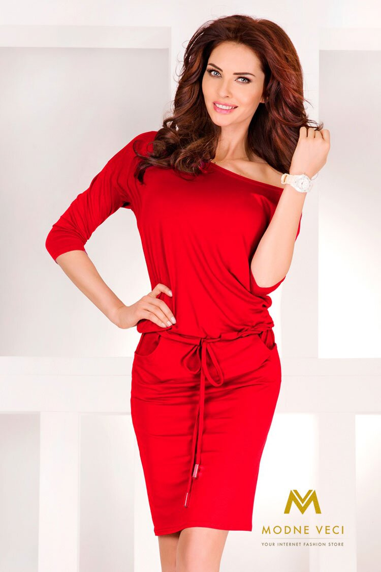 2bc01359fd90 Výrazné červené šaty s odhalenými ramenami 13-17
