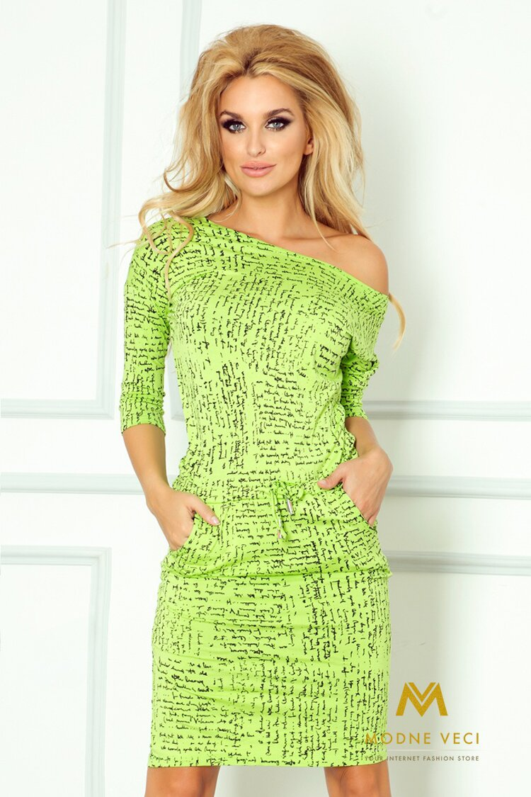 Zaujímave dámske šaty 13-35 zelený vzor 44b48ff631