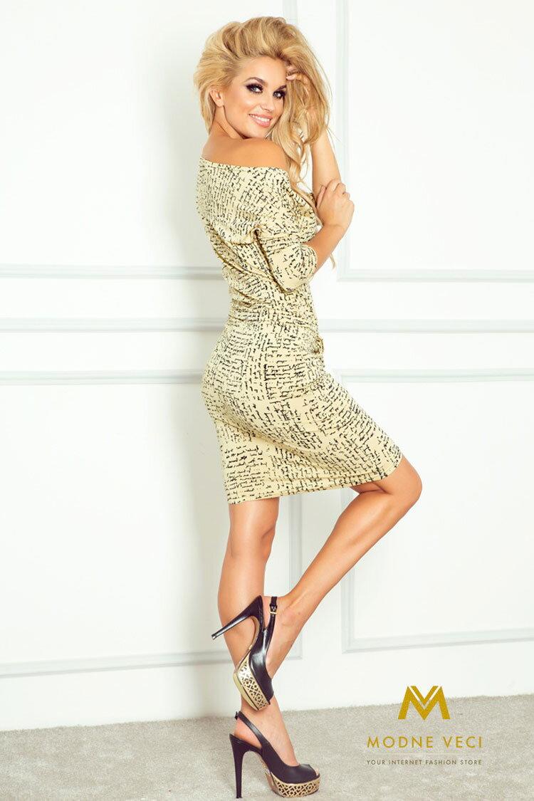 9d17826bf32d Moderné šaty s nápismi a 3 4 rukávom 13-36