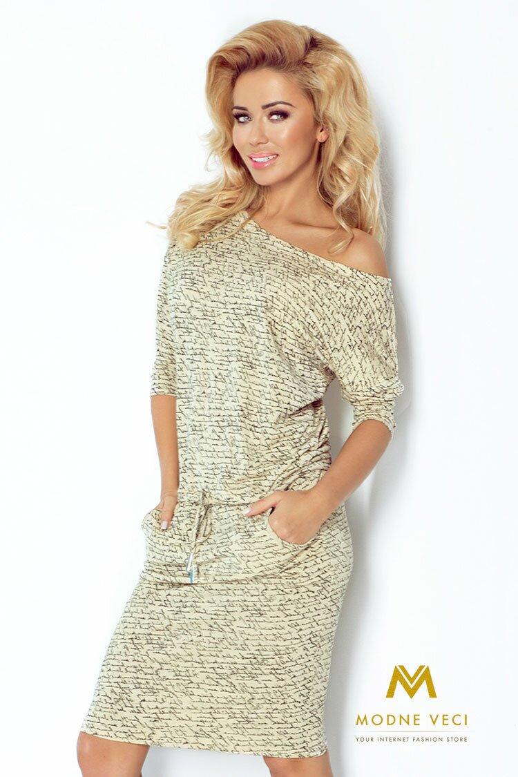 9836fef11e41 Moderné šaty s nápismi a 3 4 rukávom 13-42