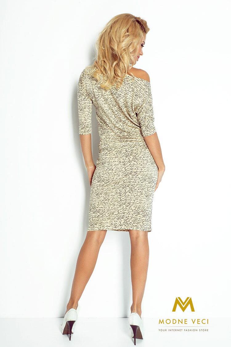 Moderné šaty s nápismi a 3 4 rukávom 13-42 ... e5d0d87d94c
