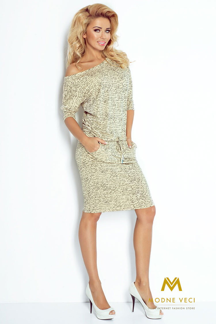 54ba1899502 Moderné šaty s nápismi a 3 4 rukávom 13-42 ...