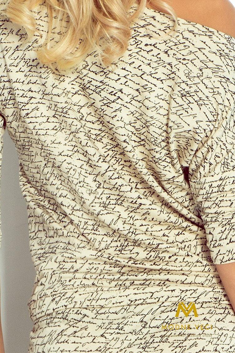 Moderné šaty s nápismi a 3 4 rukávom 13-42 8d91d71d32a