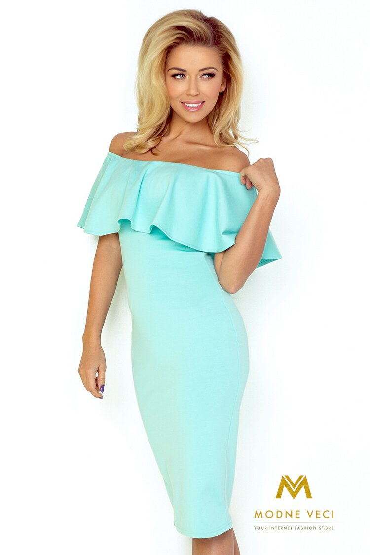 Dámske šaty s odhalenými ramenami 138-1 mentolové šaty f335d61bad4
