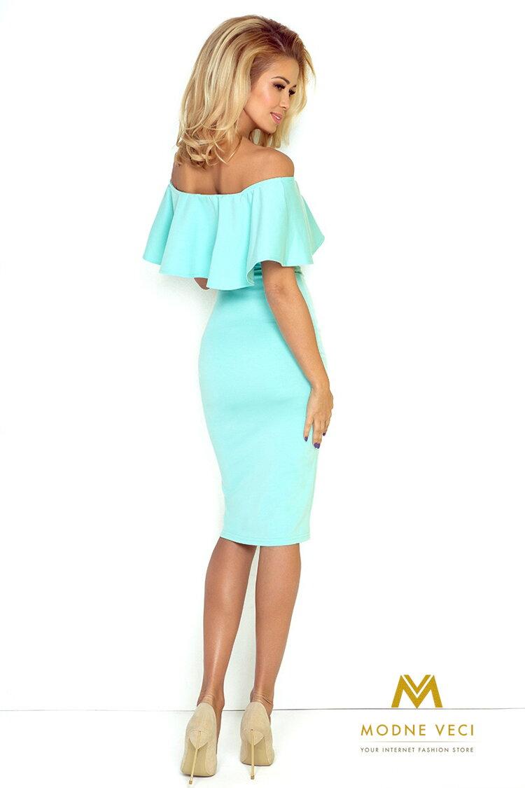 09ebec591dc Dámske šaty s odhalenými ramenami 138-1 mentolové šaty ...