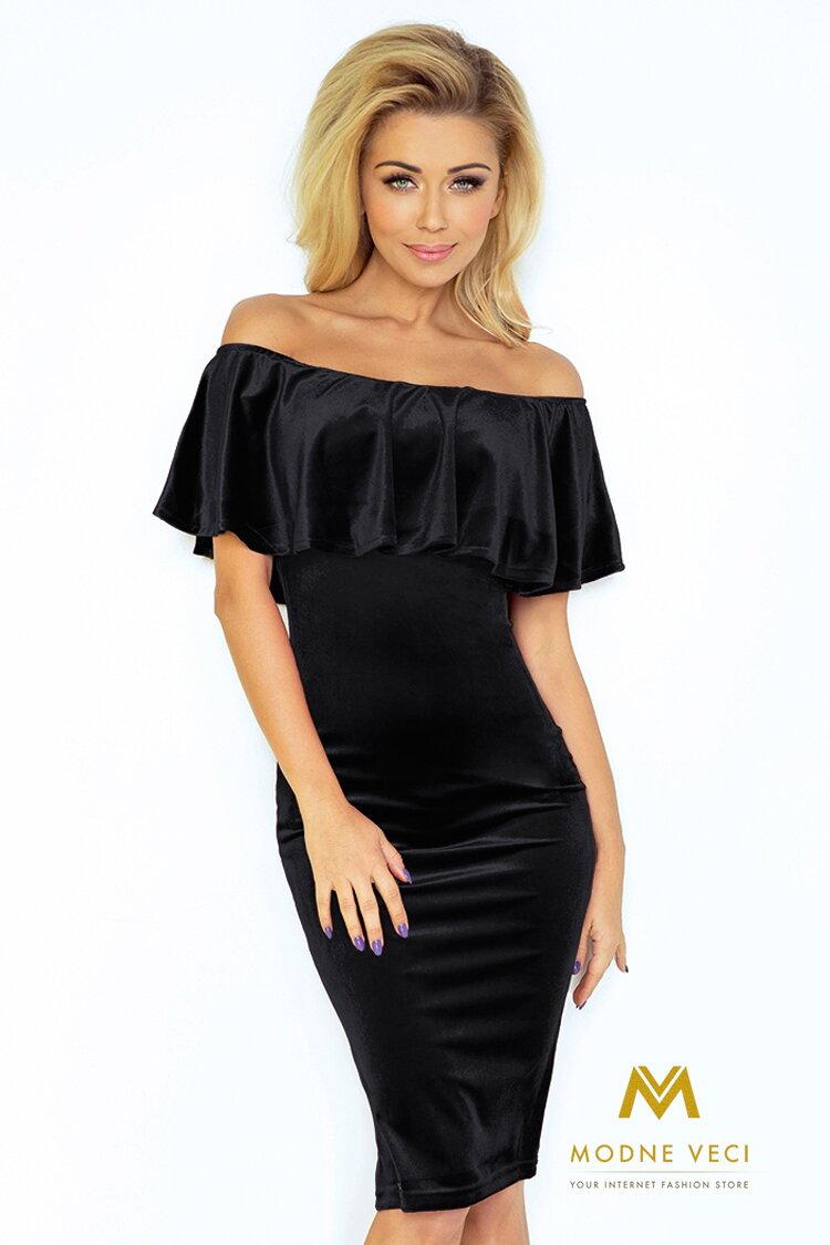 b420fd325039 Dámske šaty s odhalenými ramenami 138-4 čierne