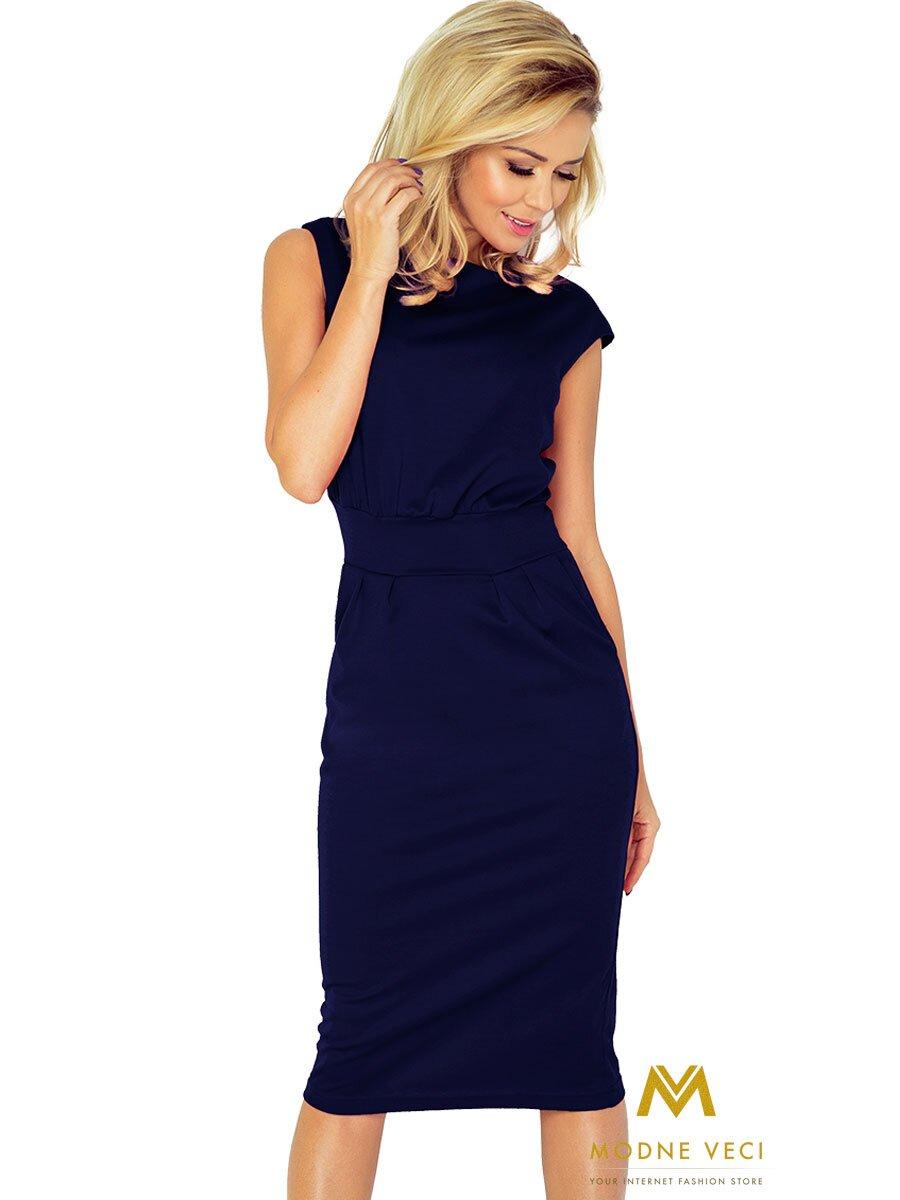 f67d8286451c Elegantné šaty v krásnej modrej farbe 144-4