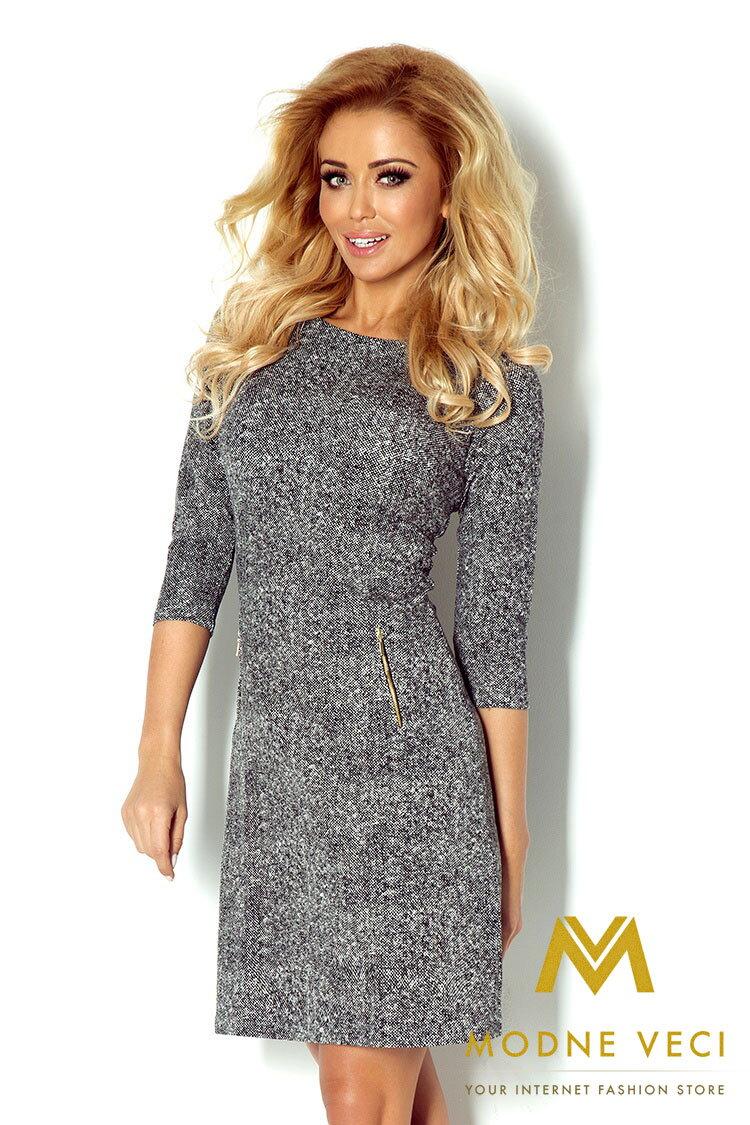 Moderné Á-čkové šaty v krásnej šedej farbe doplnené zlatými zipsami ... fb0d71f6290