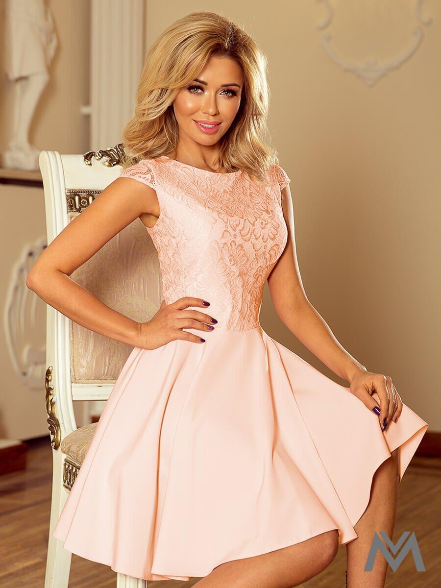 Broskyňové dámske spoločenské šaty MARTA 157-7  cb0c414db36