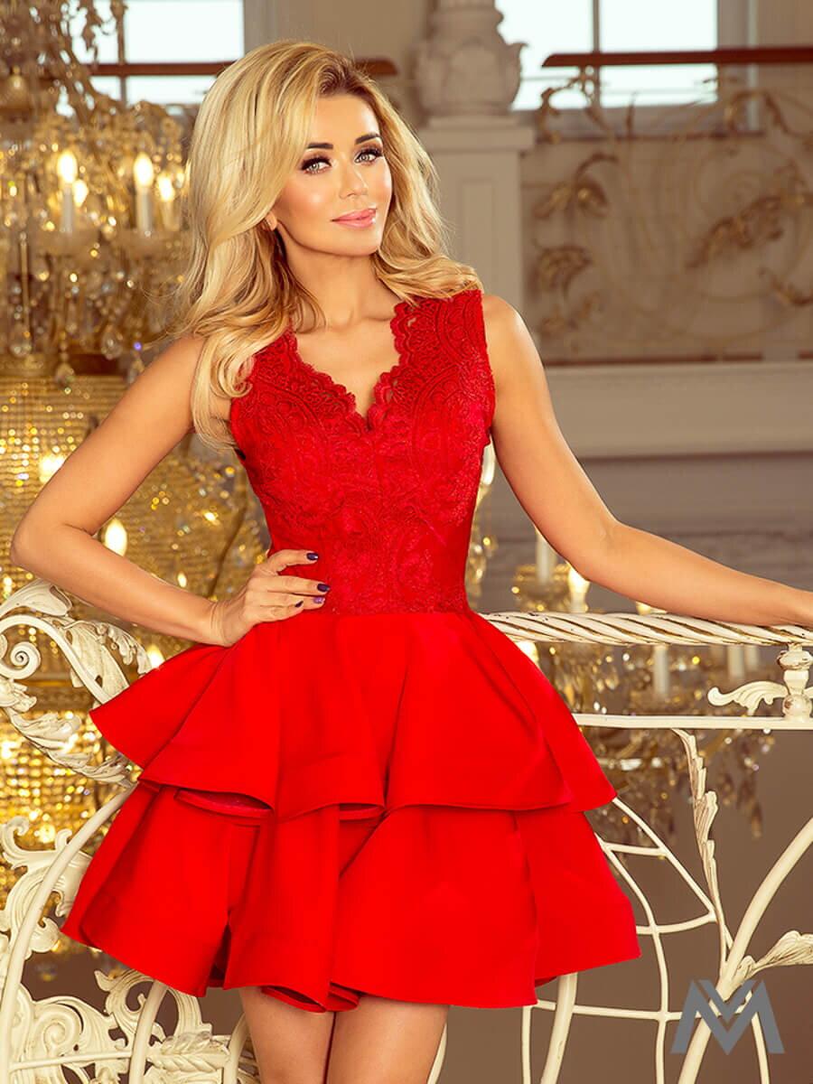 Dámske šaty s čipkovým výstrihom Charlotte 200-4 červené 3d44391a6aa