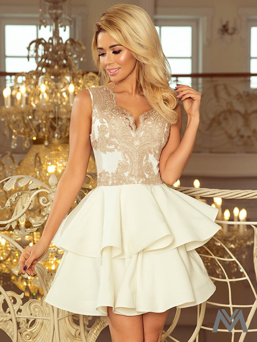 0875f600fda Dámske šaty s čipkovým výstrihom Charlotte 200-1 béžovo zlaté ...