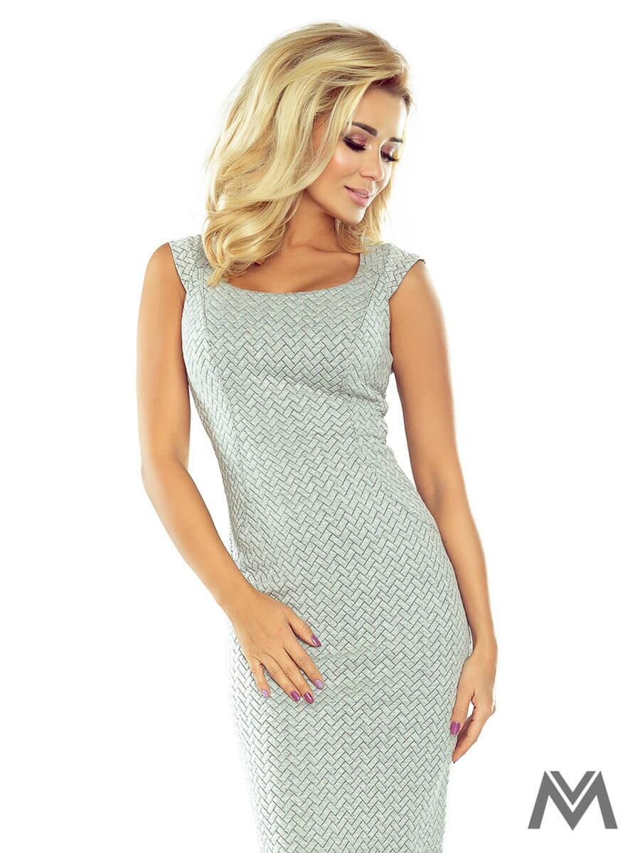 f15ec0055f6c Dámske vzorované puzdrové šaty 53-32 šedé