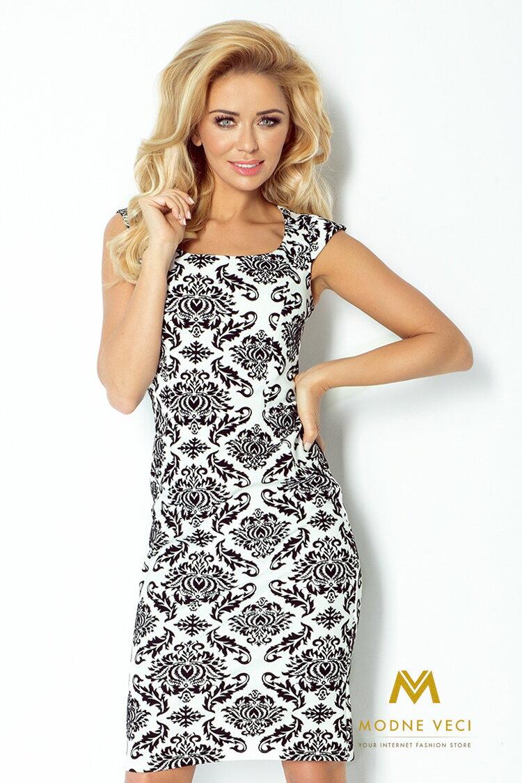 458088acc68f Elegantné púzdrové šaty 53-18 biele čierný vzor