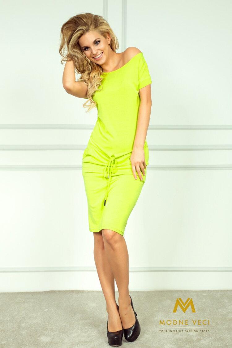 Športové dámske šaty 56-3 žltá limetka  88c3e29ba45