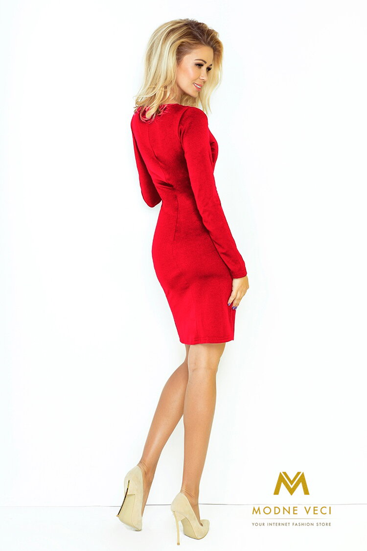 Krátke dámske šaty 92-3 červené šaty spolocenske saty 93a508641e