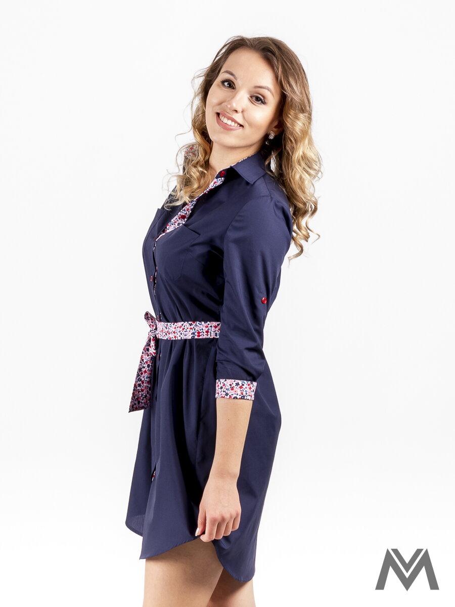 Dámske košeľové šaty VS-DS 1840 tmavo modré d4f87fa5a7