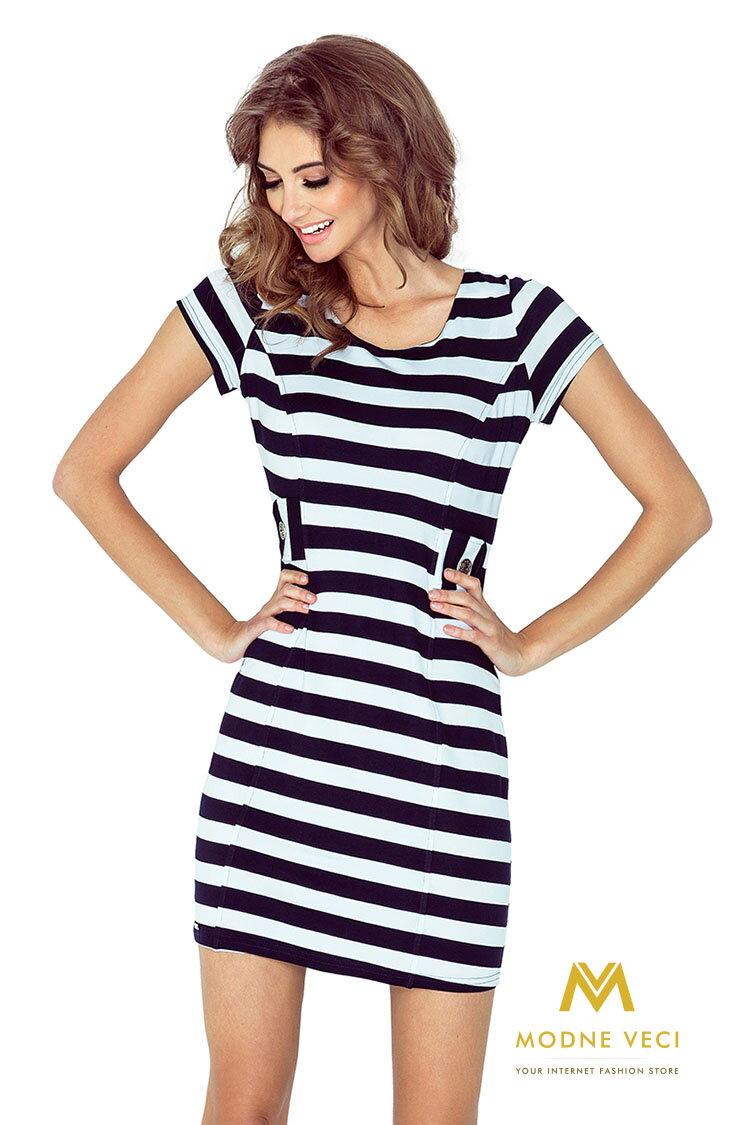 31849333a Dámske šaty s dvoma gombíkmi biele s tmavomodrými pruhmi MM 010-3, čierno  biele šaty, námornicke