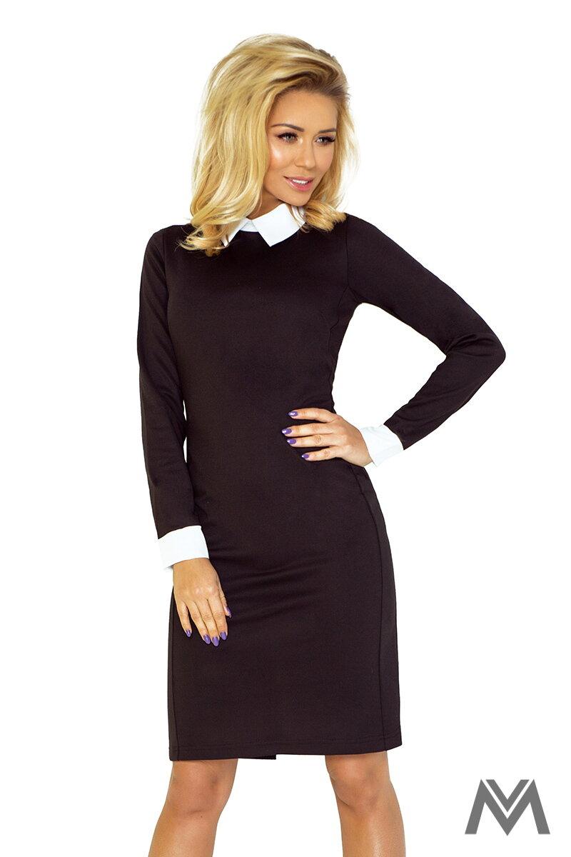 Dámske šaty s bielym stojacím golierom 143-1 čierne  e5546c4ac9