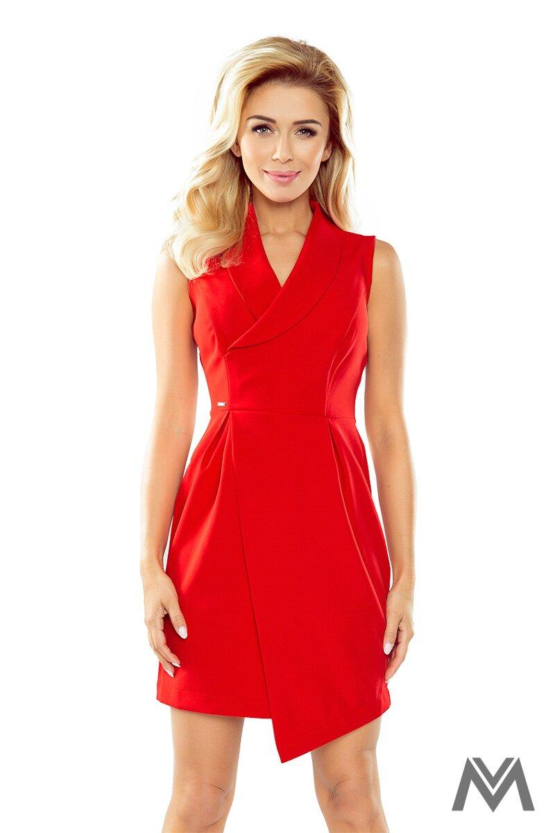 9bc97856e679 Elegantné dámske šaty so širokým golierom 153-2 červené