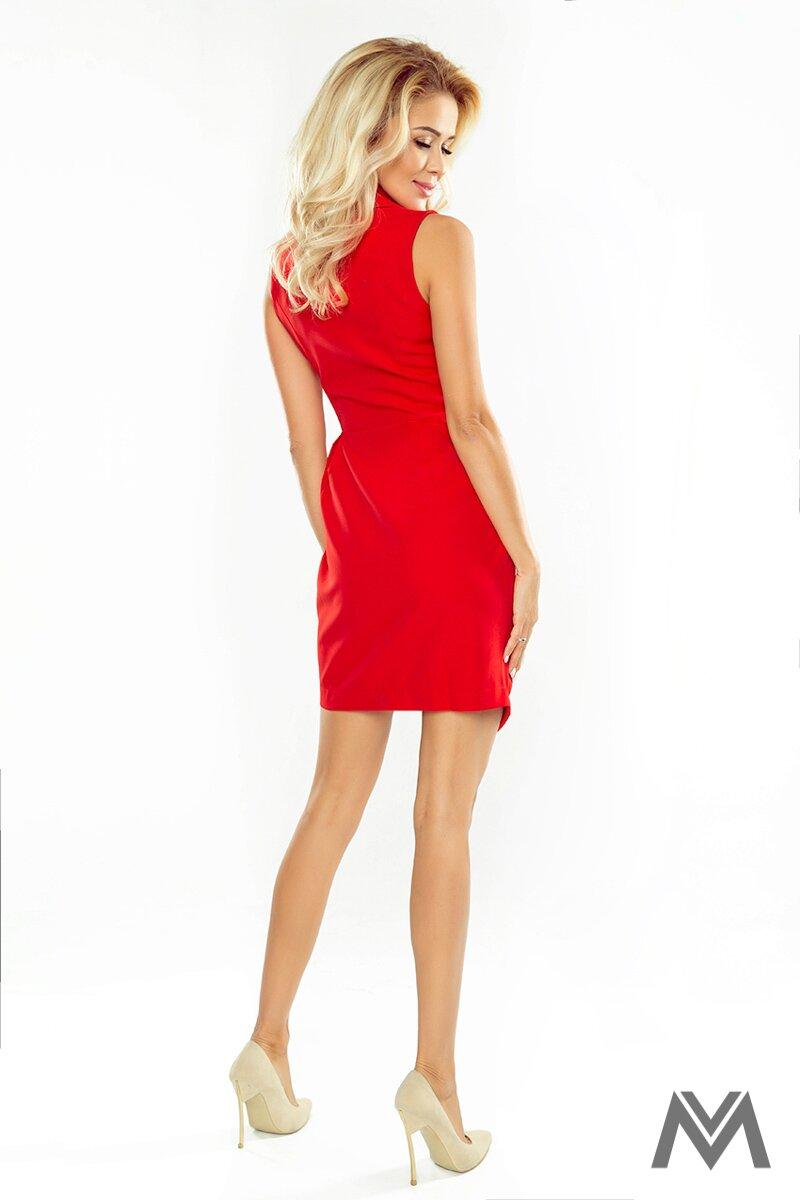 6c6f65e6dae3 Elegantné dámske šaty so širokým golierom 153-2 červené saty s kratkym  rukavom