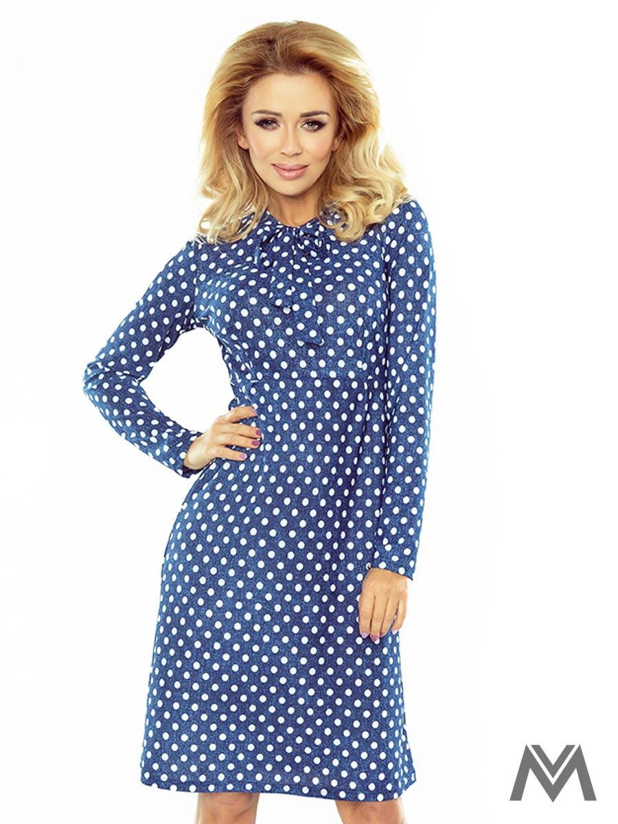6447721f01ba Dámske trapézové šaty 158-1 modré s bodkami