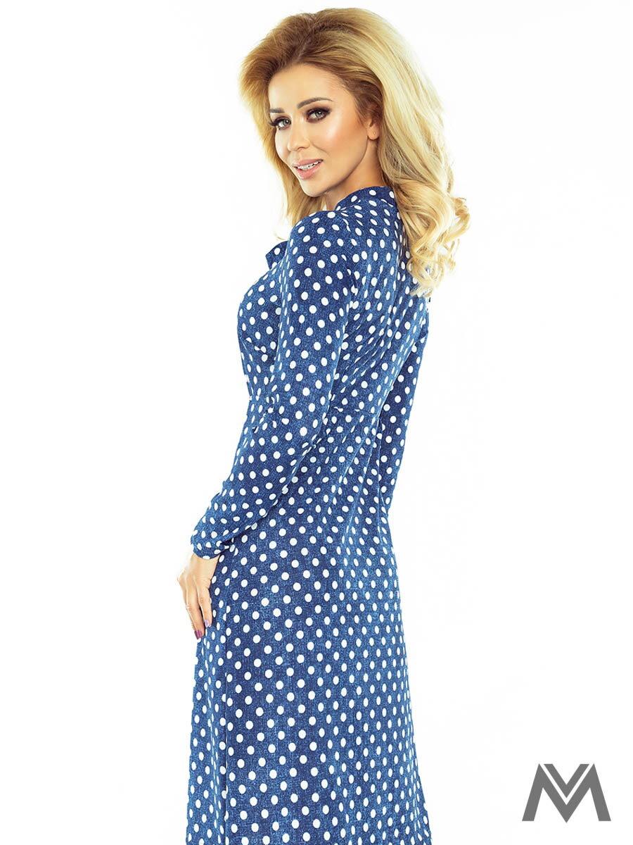 Dámske trapézové šaty 158-1 modré s bodkami ... 9e00c4ee7a6