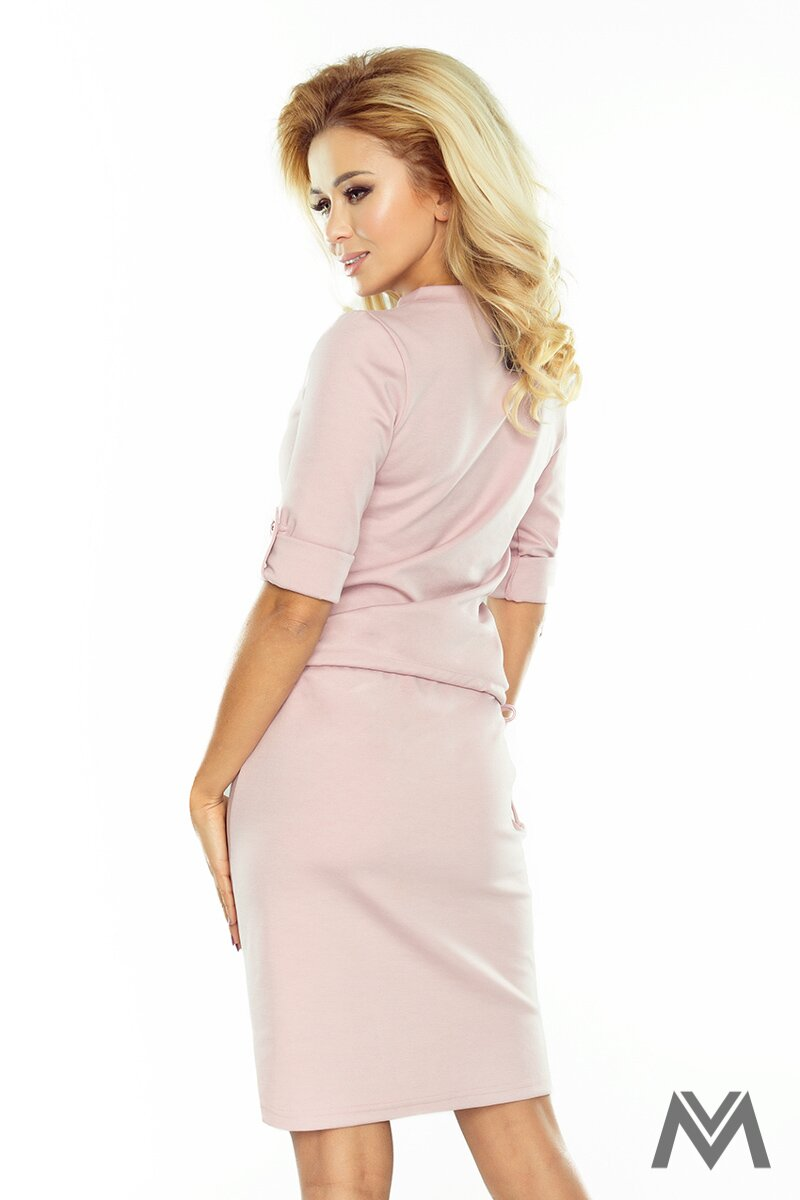 Trendy dámske šaty s golierom v pastelovo ružovej farbe AGATA 161-5 ... 67677a333a