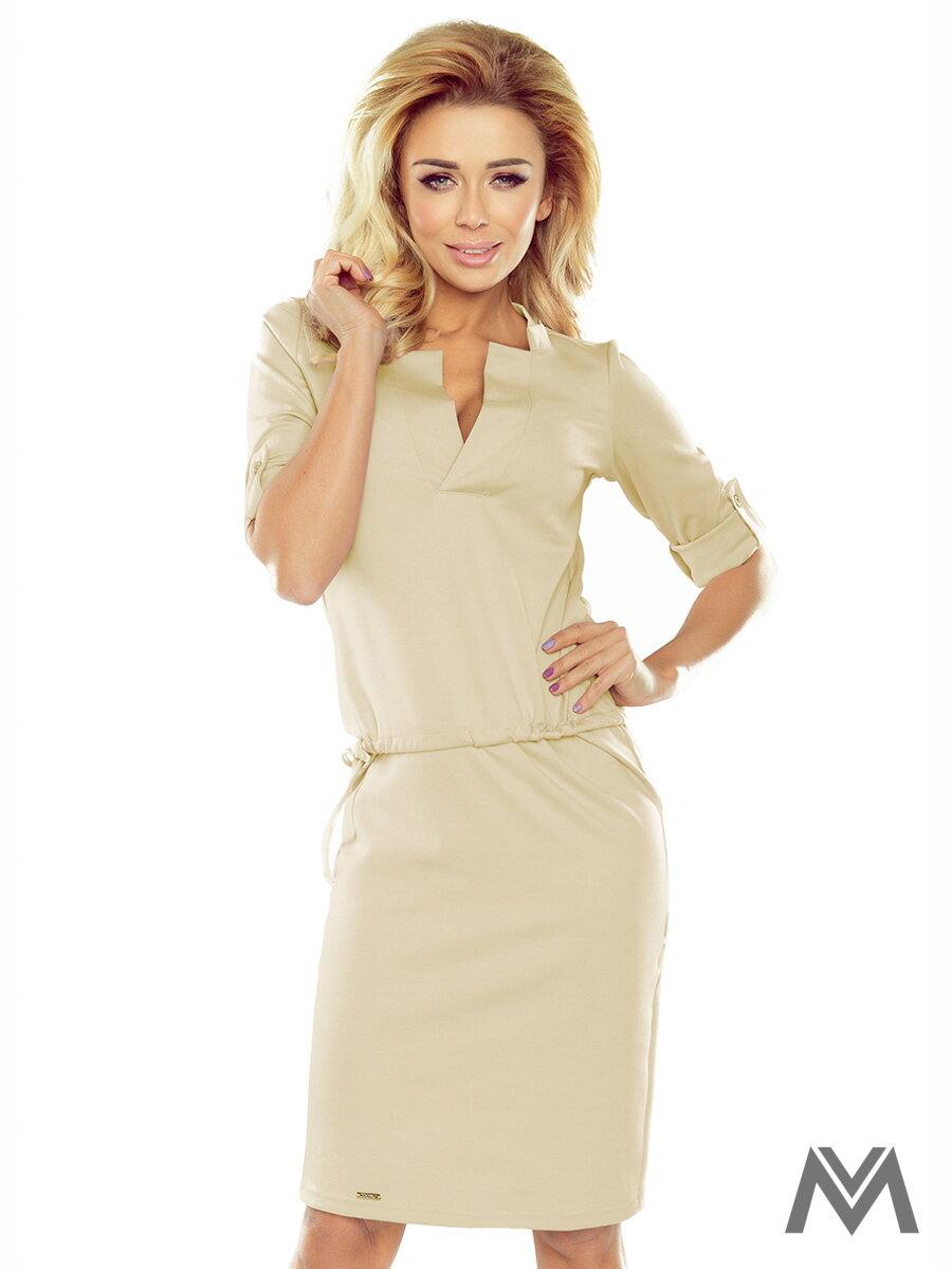 5e5335554a0 Dámske šaty v béžovej farbe AGATA 161-6