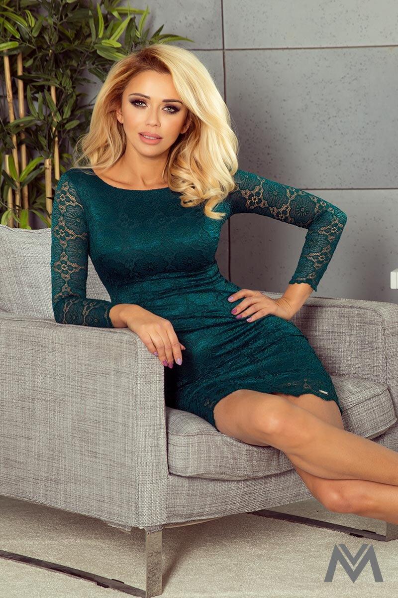 132725174e07 Krásne čipkované šaty v smaragdovej farbe 180-2