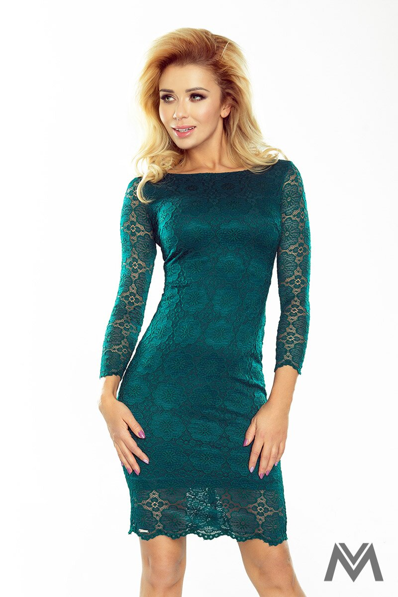 90031792a2b5 Krásne čipkované šaty v smaragdovej farbe 180-2