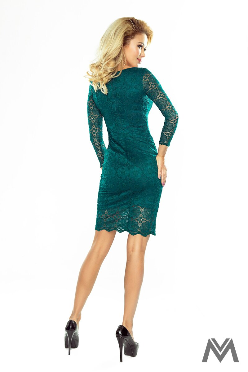 Krásne čipkované šaty v smaragdovej farbe 180-2  019537ad65b