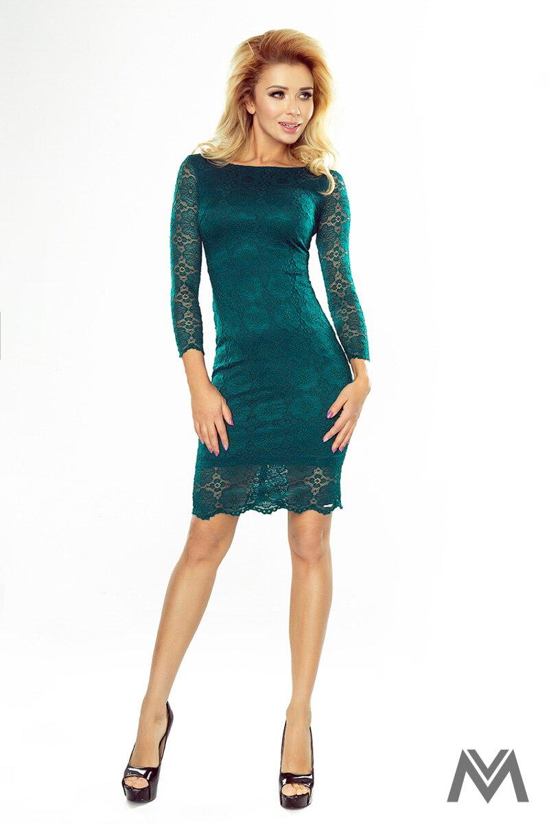Krásne čipkované šaty v smaragdovej farbe 180-2  f94336ff03d