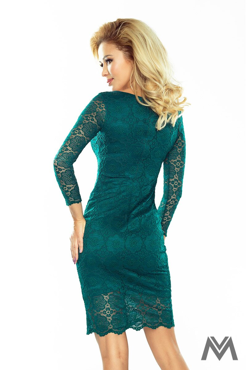 ffe42ac77a1 Krásne čipkované šaty v smaragdovej farbe 180-2