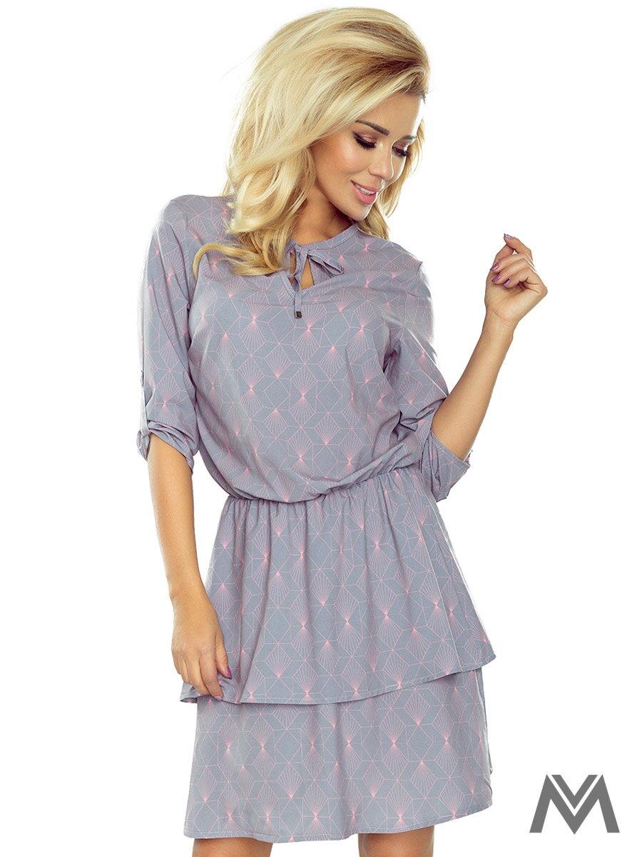 fd4c09caf8ec Kleid mit Doppelrock 182-2 grau mit Muster   ModischeSachen.de
