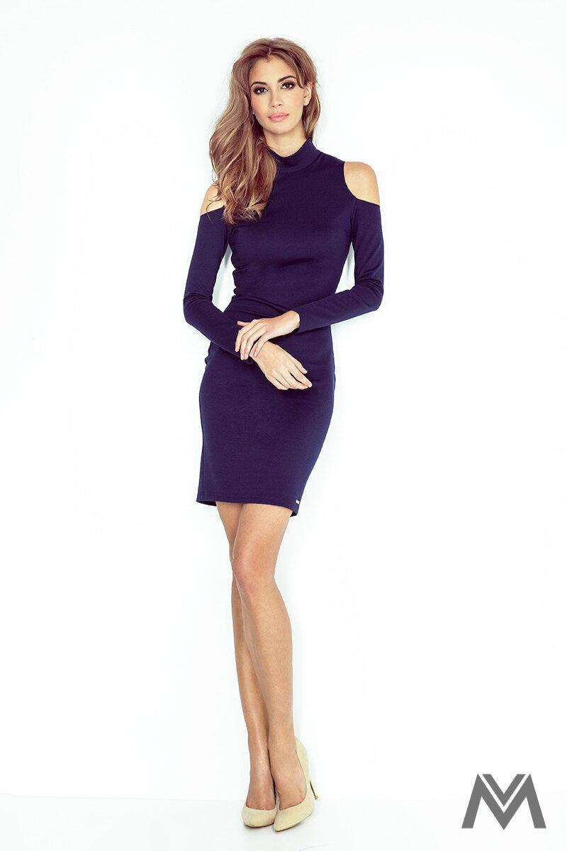 Dámske šaty s rolákom MM 008-1 tmavo modré ... 5434f78b9b0