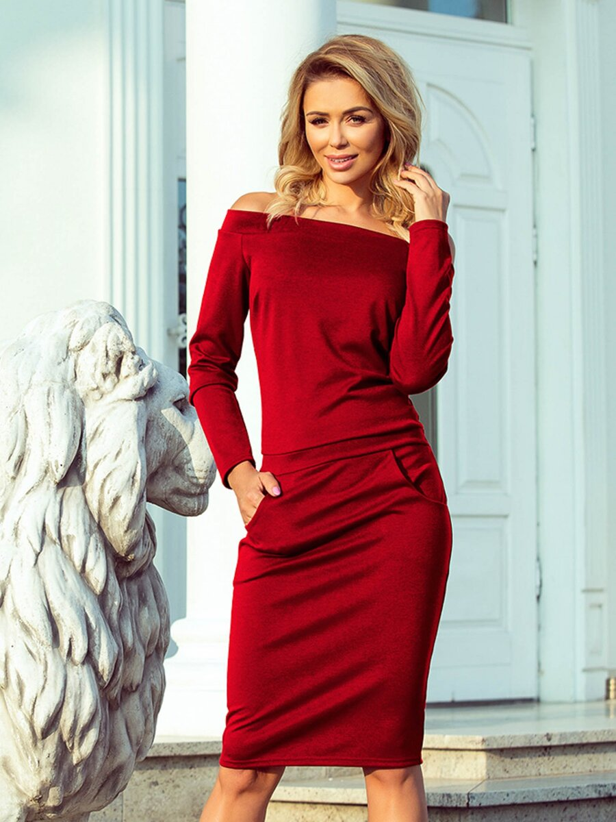 Dámske puzdrové šaty RAYA 225-2 červené  09141efcdfa
