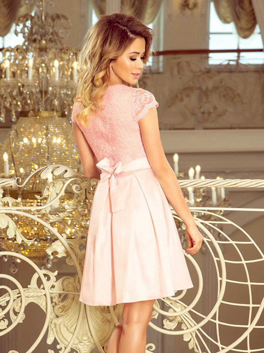 a733d992f Elegantné dámske šaty 242-1 pastelovo ružové   ModneVeci.sk ...