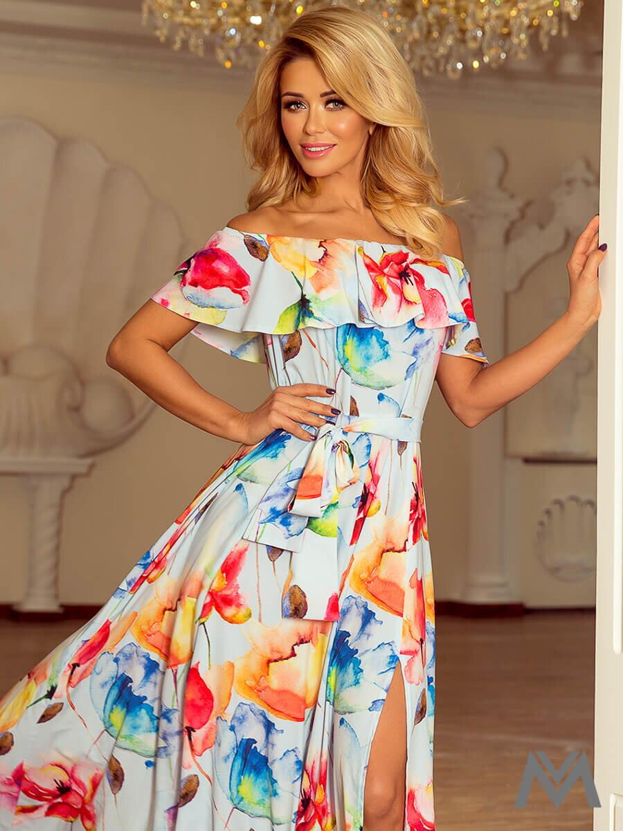 15bd59b30c5e Dámske MAXI šaty 194-1 modré s kvetinovým vzorom