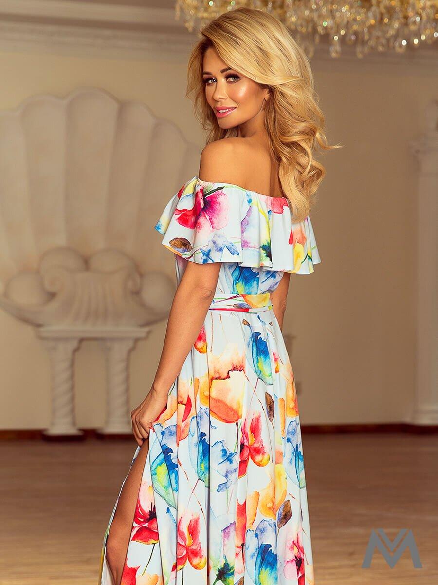 4015b50dd562 Dámske MAXI šaty 194-1 modré s kvetinovým vzorom ...