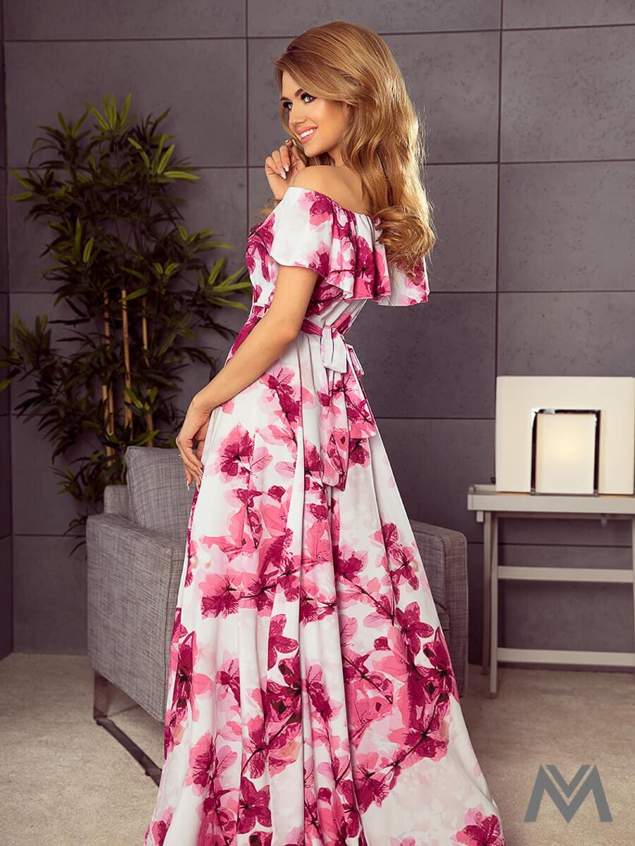 Dámske MAXI šaty 194-2 biele s kvetinovým vzorom ... 2900068018b